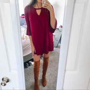 Maroon Shift Dress w/ Bell Sleeves